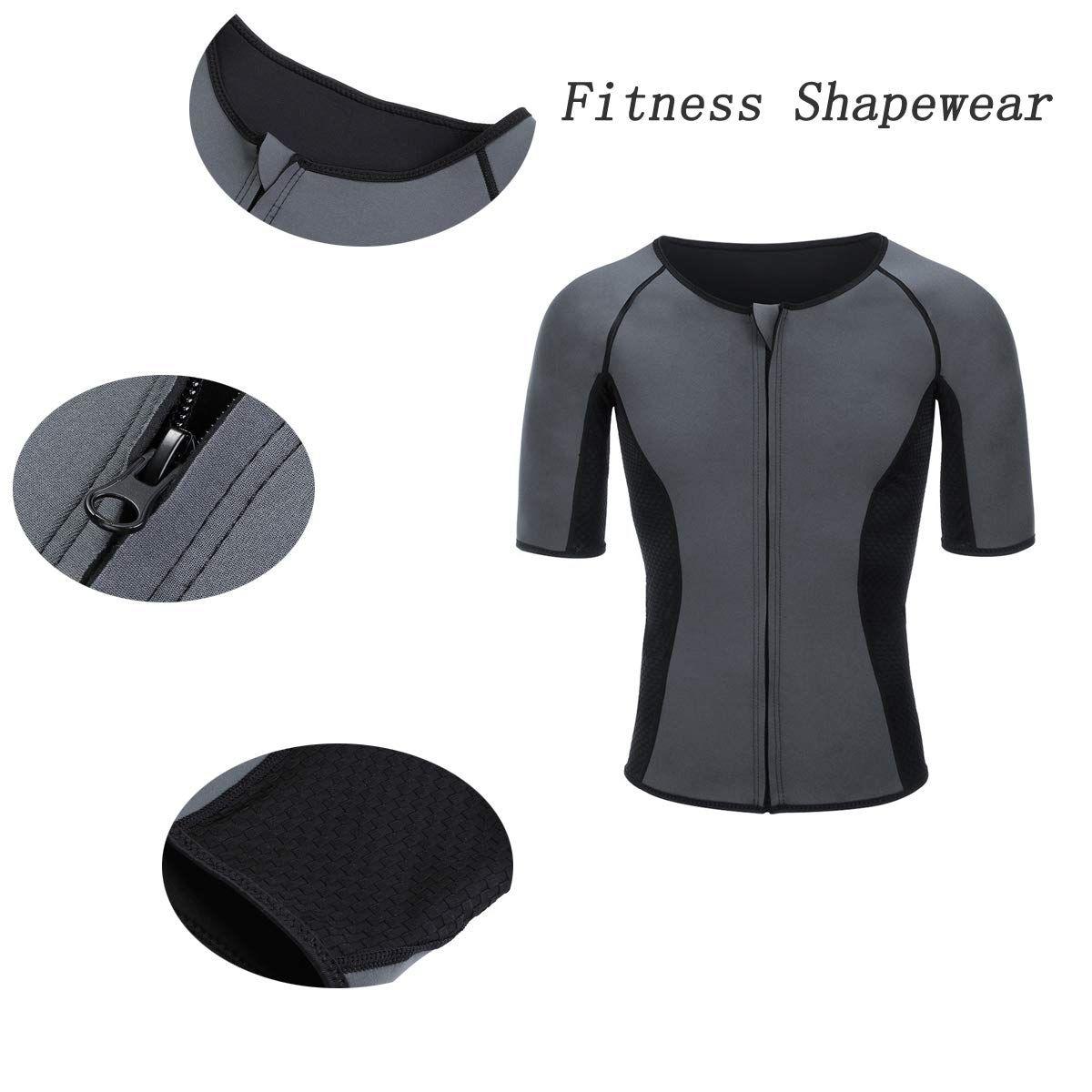 Man Weight Loss Short Sleeves Shapewear T Shirt Heat Maximizing Sweat Shirt