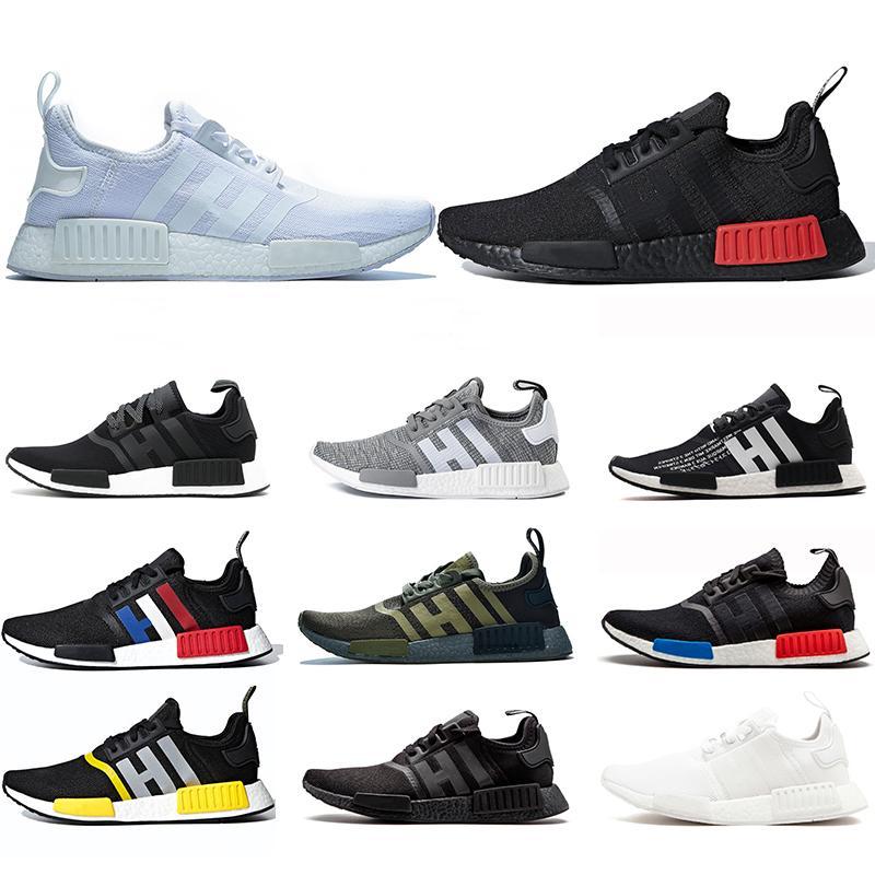 R1 Human Race Running Shoes Pharrell Williams Mens Sneakers Bred OG Classic Oreo Men Women Mastermind Japan Sports Size 36-45