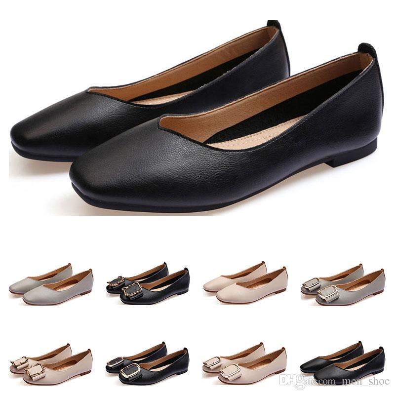 De nouvelles dames Chaussures plates taille lager 33-43 femmes fille nue en cuir gris noir Nouveau arrivel travail Fête de mariage chaussures robe Seventeen