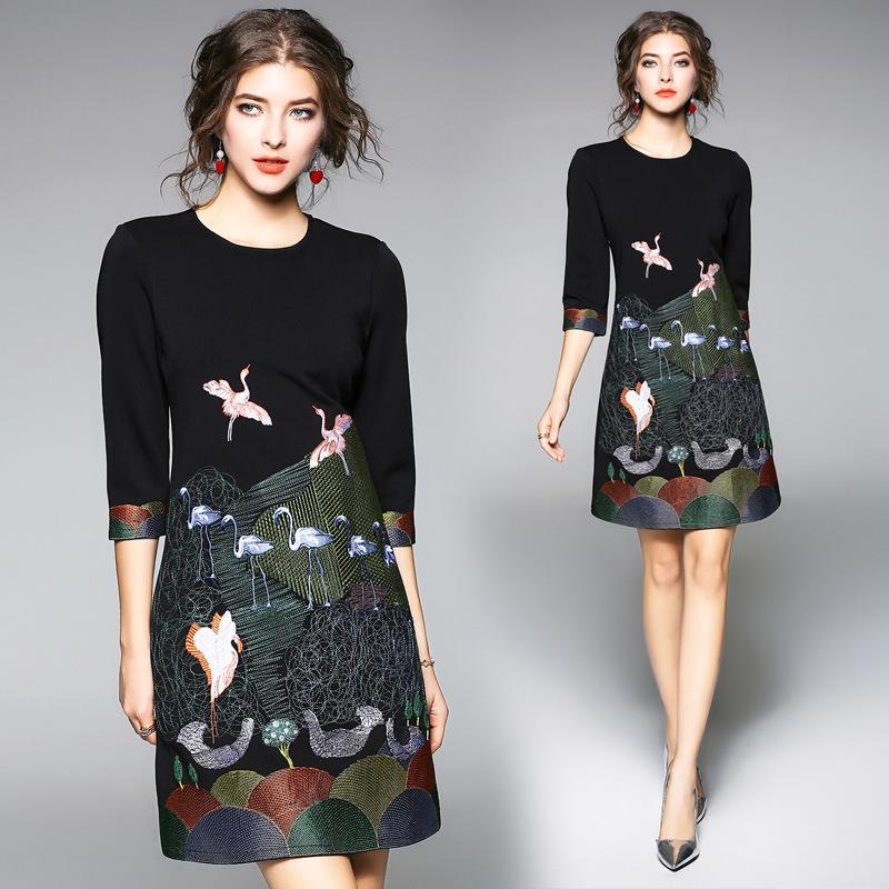 vendita all'ingrosso abito abito tunica sottile ricamo nero donne eleganti vintage sexy partito festa in ufficio 2019 primavera 3/4 manica abbigliamento