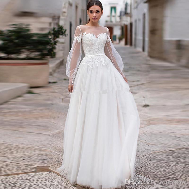 Modesta mangas largas vestidos de novia de encaje Bohemia Jewel Sheer cuello de encaje apliques Una línea de vestidos nupciales de boda con los botones