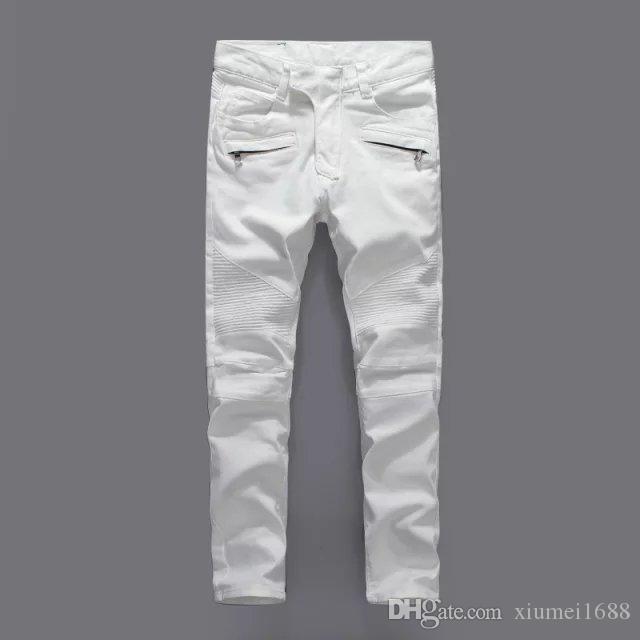 2019 Лучшие качества Мужчины Тонкий белый рваные дыры джинсы Мужчины Дизайнерские Тощий Джинсовые брюки Мужские джинсы Брюки Байкер