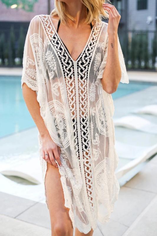 Bikini Cover Up Dantel Püskül Hollow Tığ Mayo Plaj Elbise Kadınlar 2019 Yaz Bayan Kapak-Ups Mayo Plaj Giyim Tunik