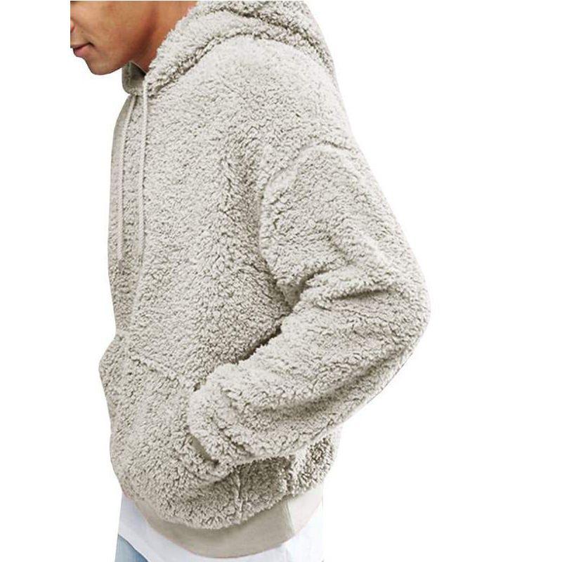 Erkek Kış Kalın Sıcak Triko Büyük Boy Fleece Kapüşonlular Erkek Kazak Sonbahar Kış Katı Kapşonlu Streetwear Tops