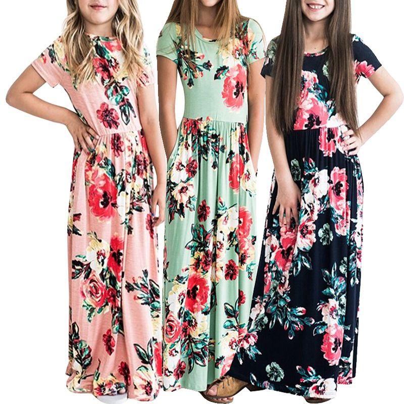 ماكسي الفتيات فساتين الصيف أنيقة ملابس الأطفال infantil الخريف طفل الفتيات فستان طويل التنانير البوهيمي الزهور