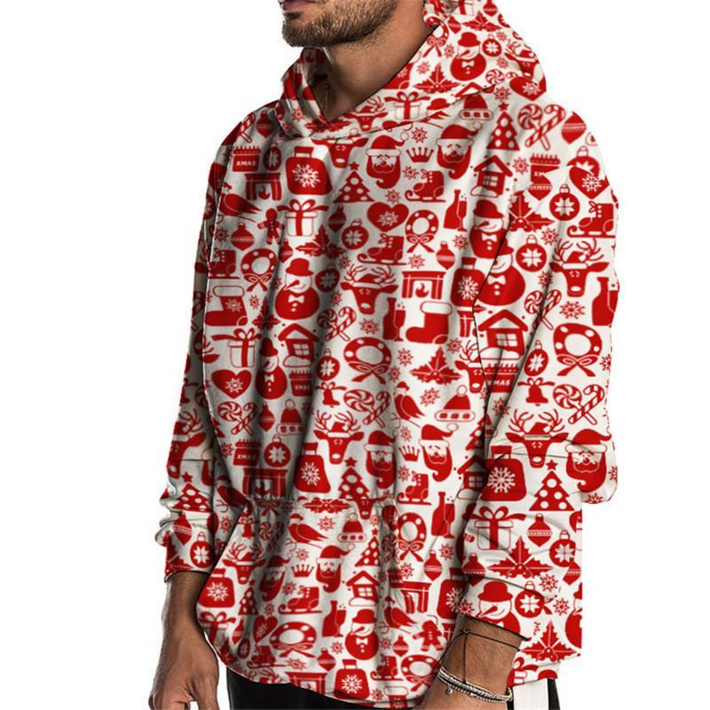 2020 neues Jahr mit Kapuze Weihnachtsmann-Druck-Sweatshirt der Männer Weihnachten Herbst-Winter-beiläufige Sweatshirts Partei Street