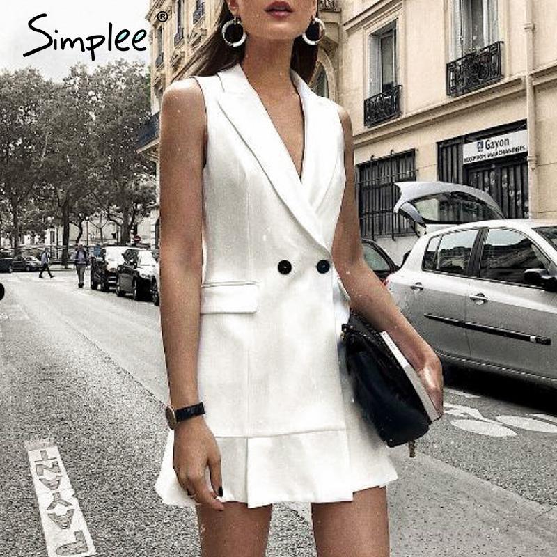 SimpLee белый блейзер работа женщины платья V шеи рябить линию стройной без рукавов платье партии офиса дамы короткие белые платья vestidos