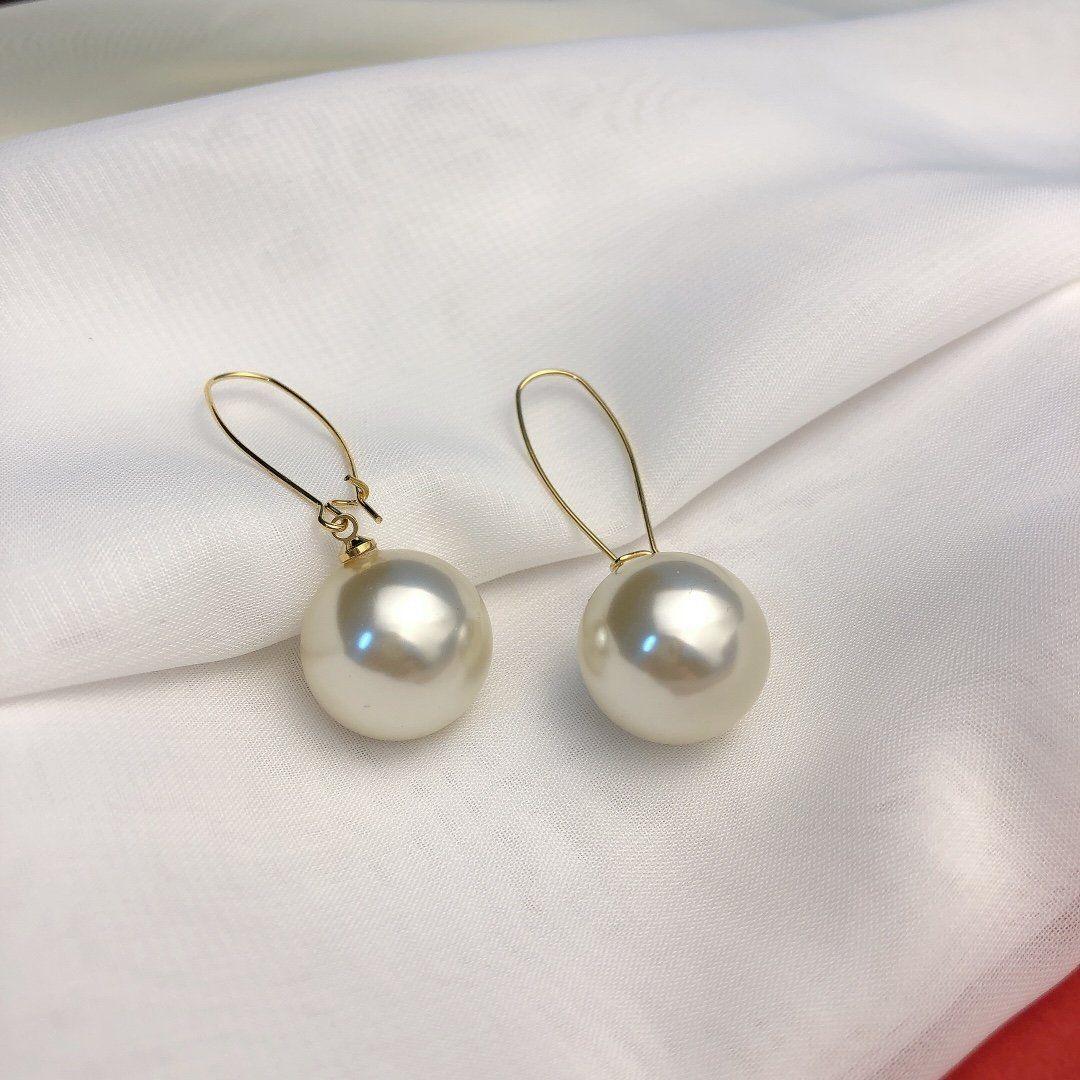 Orecchini di pendente semplice a mano zircone perla oro dei monili 18K di ottone placcato Orecchini orecchini per le donne Orecchini asimmetrici Chri