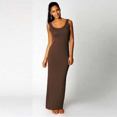 Brown 2019 été nouveau mode de base Gilet Robe longue femme élégante robe fendue dans le dos Gilet sans manches Tanks Sexy Slim Party Bracelet Robes