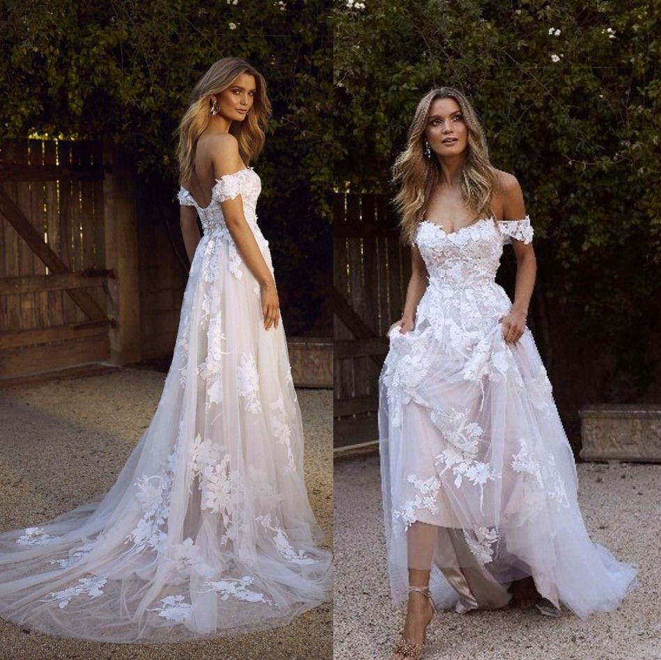 New Country Boho Brautkleider 2020 reizvolle Backless einer Linie weg von der Schulter Appliqued Tulle langen Sommer Brautkleider Bohemian BM1510