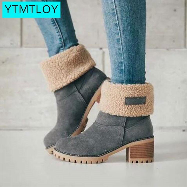 Mulheres Winter pele morno neve Botas Senhoras lã quente booties Botim sapatos confortáveis Plus Size 35-43 Mulheres Brown Shoes Mulher