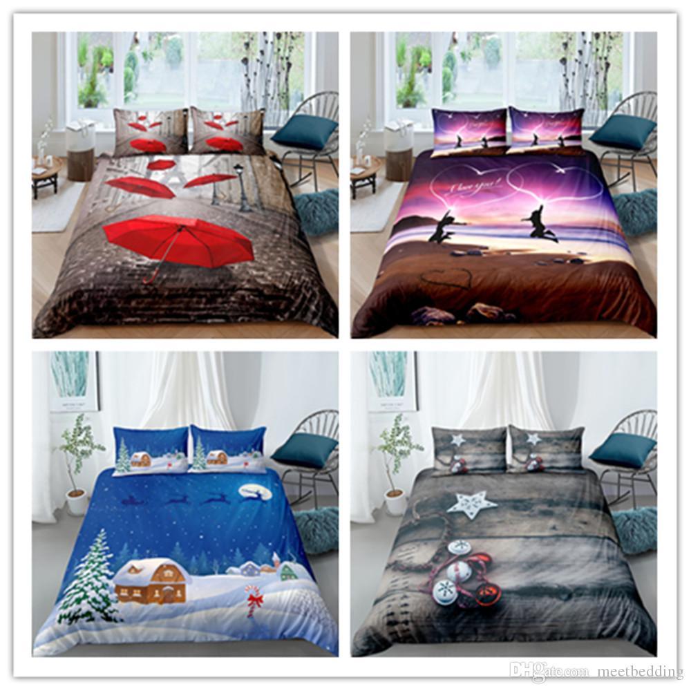 3D 100% poliéster cenário encantador Landscape Series cama Set 2 / 3pcs capa de edredão Set rainha gêmeo Full Size macias para Meninas / Boys / Adulto