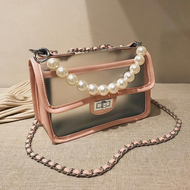 Designer Sac à bandoulière Sacs à main Sacs à main Sacs emballage transparent Mode Perle Perles Décoration PVC Chaîne Sac bandoulière Livraison gratuite