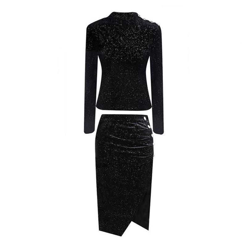 PERHAPS U kadınlar siyah standı yaka uzun kollu kazak üst midi kalem etek iki parçalı set zarif bahar düğme kılıf T0124
