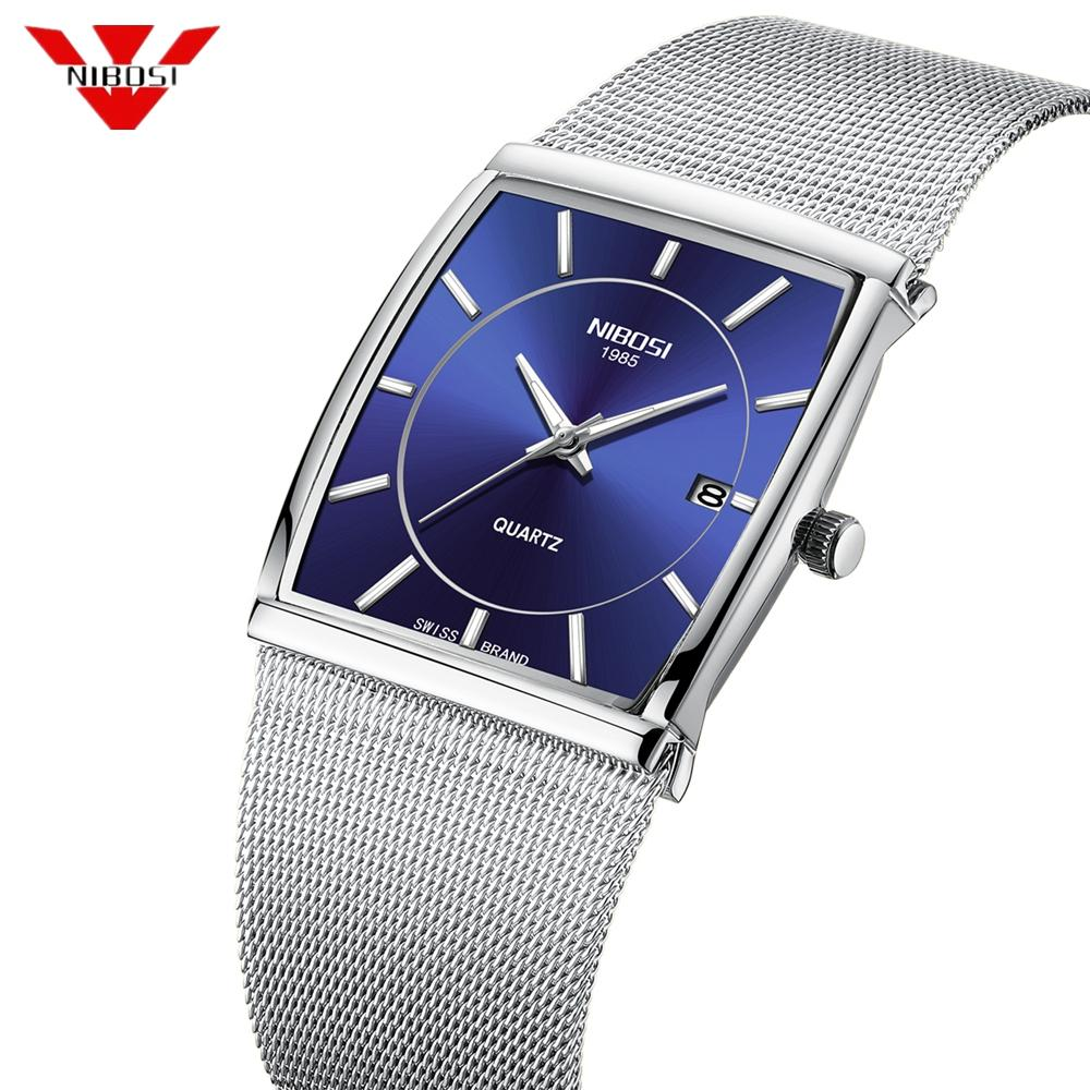 NIBOSI kreative Marke LuxuxMens Quadrat-Quarz-Uhren Male Wasserdicht Datum Uhr Edelstahlgewebe Geschäfts-Mann-Armbanduhr