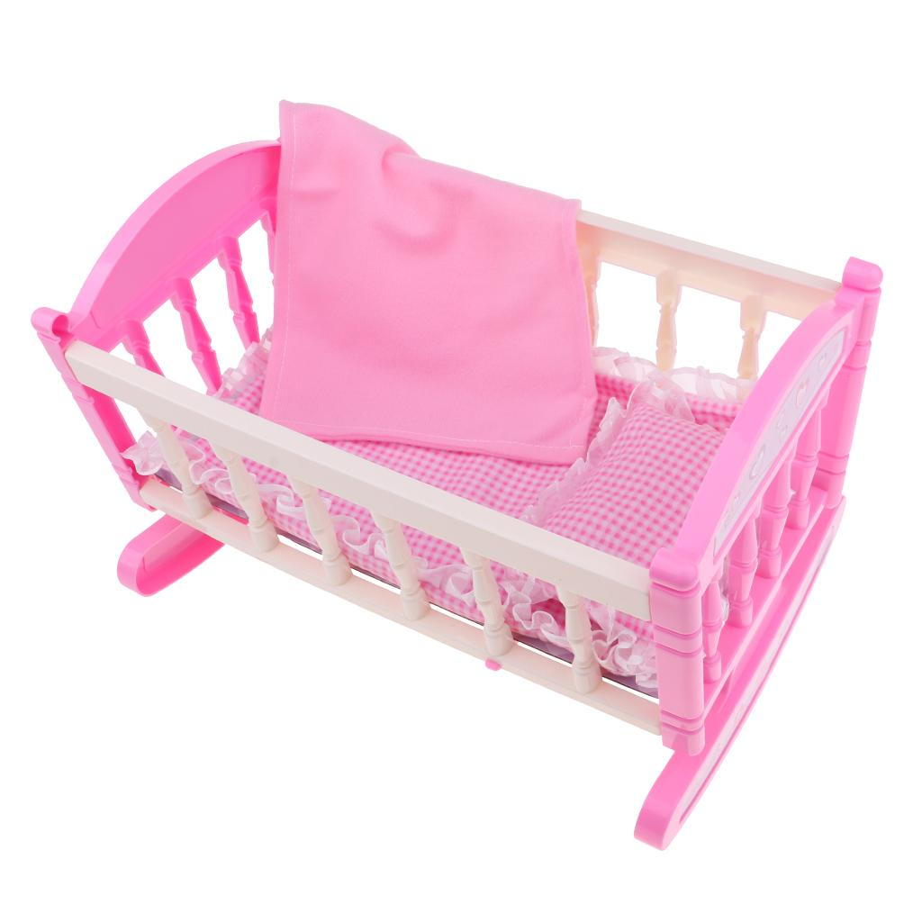 Picture of: Pink Rocking Bed For Dolls Baby Doll Cradle Toy Furniture And Play Accessories Fits 9 12inch Reborn Dolls Large Dollhouse Wood Doll Houses For Sale From Gralara 15 53 Dhgate Com