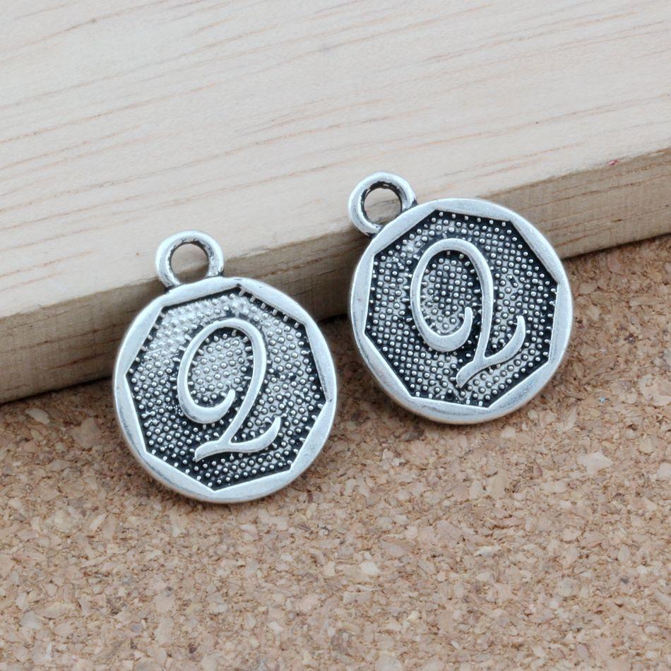 """100pcs / lots Doppelseitiges Letter """"Q"""" Initial-Legierung Charme antiker Silber Anhänger Modeschmuck DIY 14.8x28.2MM A-406"""