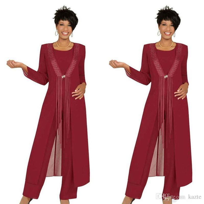 الأحمر الداكن ثلاث قطع المرأة بانت البدلة 2019 مخصص جعل زائد حجم الشيفون مطرز التفاصيل طويلة الأكمام سترة أم العروس العريس البدلة