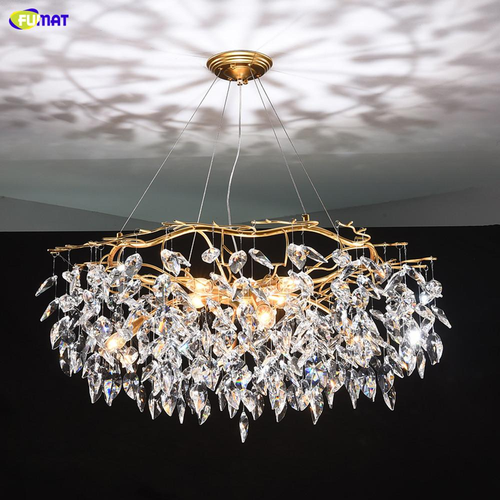 cristalino de lujo FUMAT araña de luz viviente iluminación AC110V 220v brillo LED kroonluchter oro Comedor lámpara