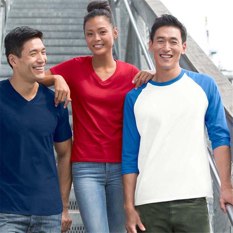 2019 New Plus Size Tshirts Cotton Men Long Sleeve Raglan Tee Casual Tops T-shirts Crew neck Mens Slim Fit Tshirt S-2XL