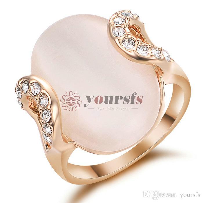 Yoursfs Big Pink Anillo Opal para Mujer Deco Compromiso 18K Rose GP Joyería de moda