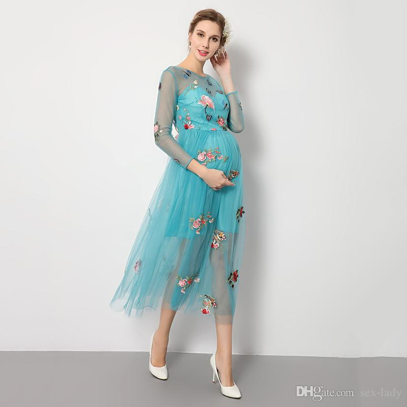 Compre Accesorios De Fotografía Vestidos De Maternidad Sesión De Fotos Embarazo Embarazada Vestido Embarazada Malla Azul Mariposa Bordado Perspectiva