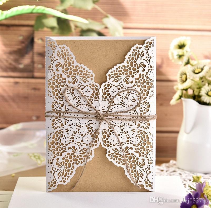 Convite Glittery casamento Laser cortar feriado invitation convite do cartão de rendas de ouro A477 kraft papel de cânhamo corda de cartão de casamento
