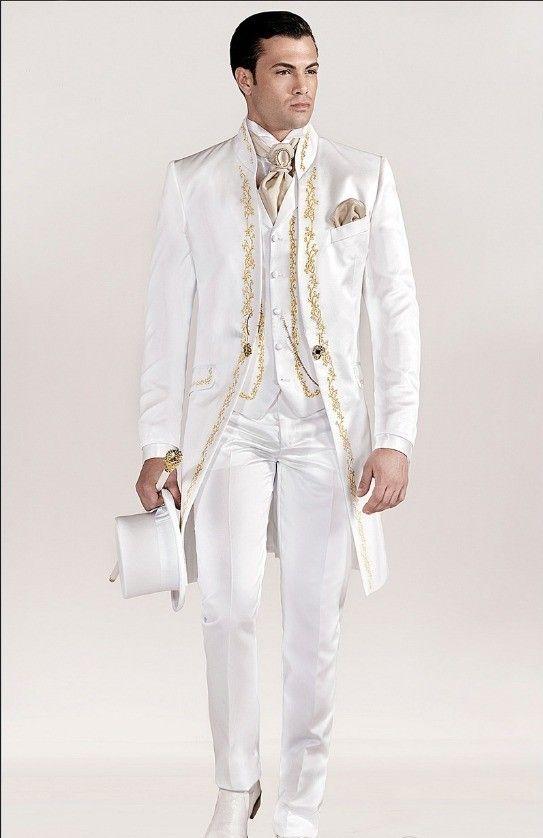 Красивый вышивки Groomsmen мандарин отворотом Groom Tuxedos Мужские костюмы Свадебные / Пром / Dinner Best Man Blazer (куртка + штаны + Tie + Vest) A14