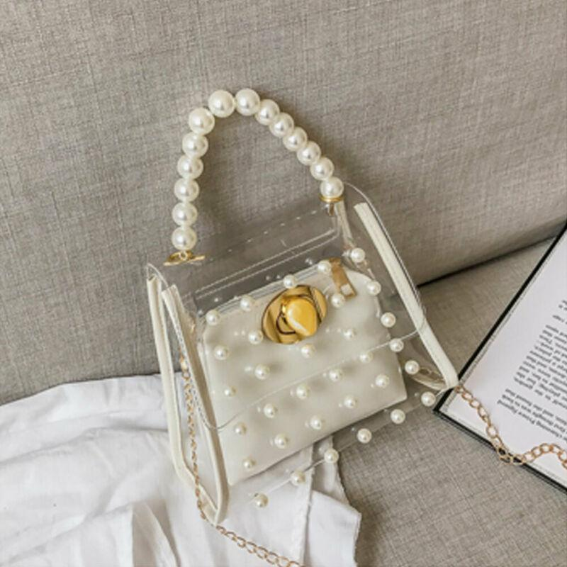 Ladies Women/'s Transparent  See Through Cross Body Bag Jelly Handbags Party Bag