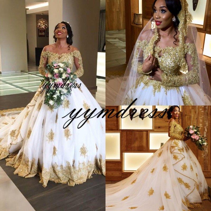 luxury Wedding Dresses Black Girls Off Shoulder Gold Lace Applique Long Sleeve Boho Bridal Gowns Bohemain robe de mariée Plus Size