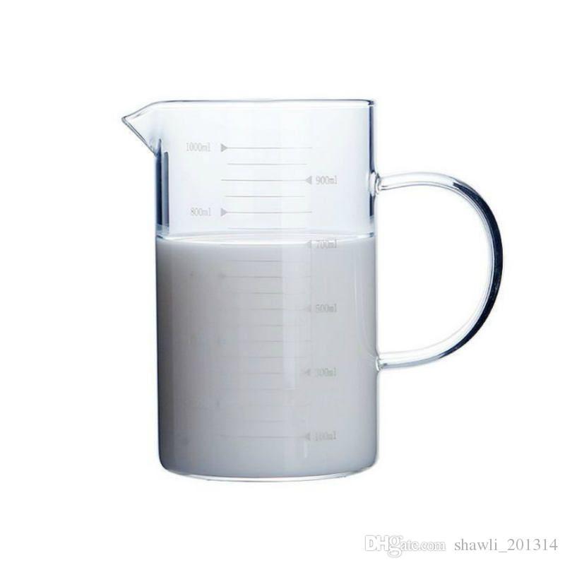Nuevo Vaso de vidrio Café Taza de medir Taza Taza con asa Caño Superficie Cocina Utensilios de cocina Vidrio de borosilicato Cristalería de laboratorio Cristal transparente