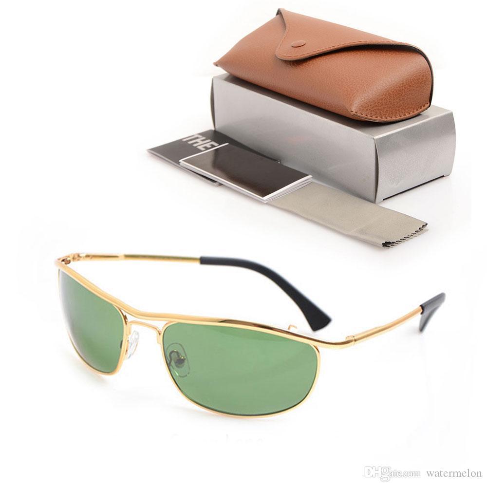 10 stücke Brand New Unisex Gläser 8012 Gläser Sonnenbrille Sonnenbrille Womens Gläser Sonnenglaslas Klassischer Mens Green Marke Designer mit AKBT
