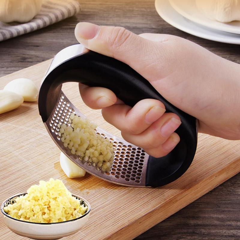 Manuale Garlic Press Rocker con manico in acciaio inox aglio frantoio Squeezer dell'affettatrice Chopper Mincer gadget da cucina utensili