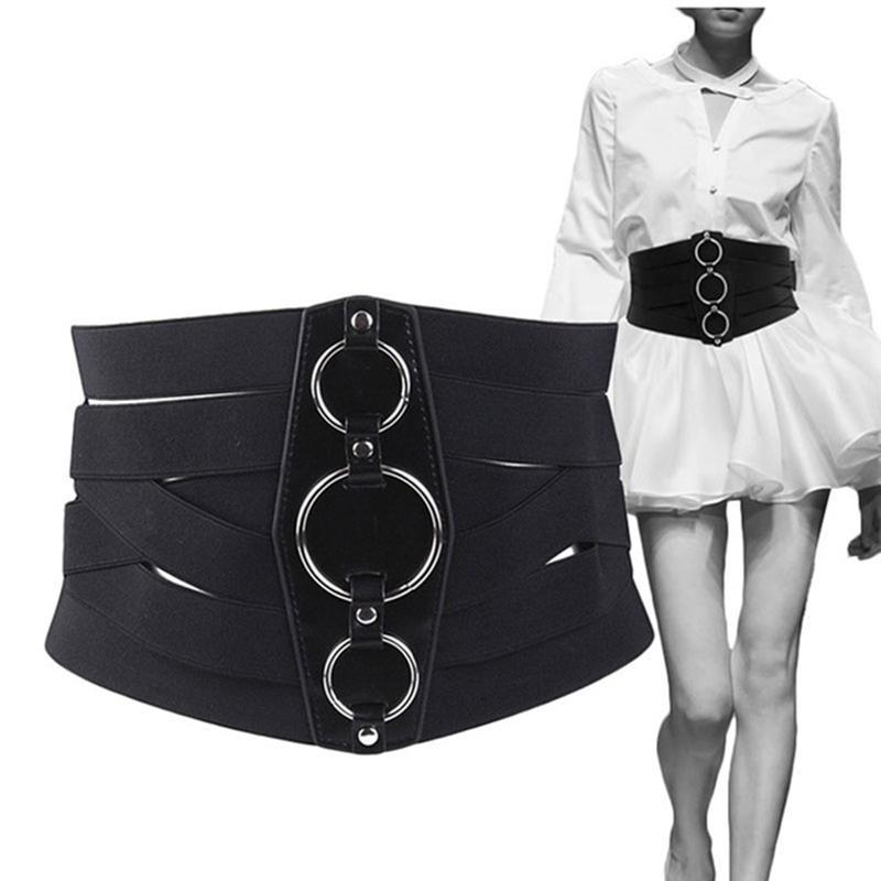 New Arrivals Mulheres Sexy espartilho Belt PU cummerbunds Couro Zipper Bandage HOT Elastic Cincher cós largo Cummerbund Black Belts cintura