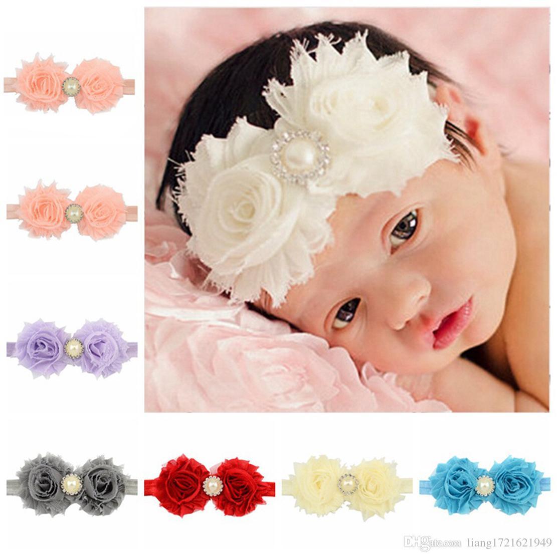 12 farbe europäische und amerikanische kinder haarband schäbige rohe blume mit pearl haarband baby stirnband