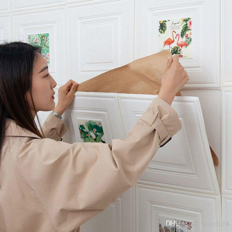 DIY 3D 벽돌 PE 폼 벽 스티커 패널 룸 칼 스톤 장식 양각 거실 어린이 안전 안전 베드룸 홈 인테리어 70x70CM