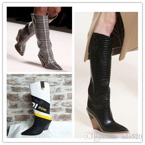 뾰족한 발가락 패션 디자이너 이상한 하이힐 진짜 가죽 여성 신발 새로운 가을 겨울 부츠 활주로 긴 여성 Boots35-43