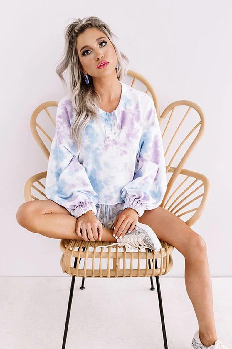 DHL frei für Pyjamas Tiedye Weiblich Conjuntos Cortos De Pijama Con Cuello Redondo Y Pijama Abbindebatik Mode 2019 Sun-Glühen auf Lager