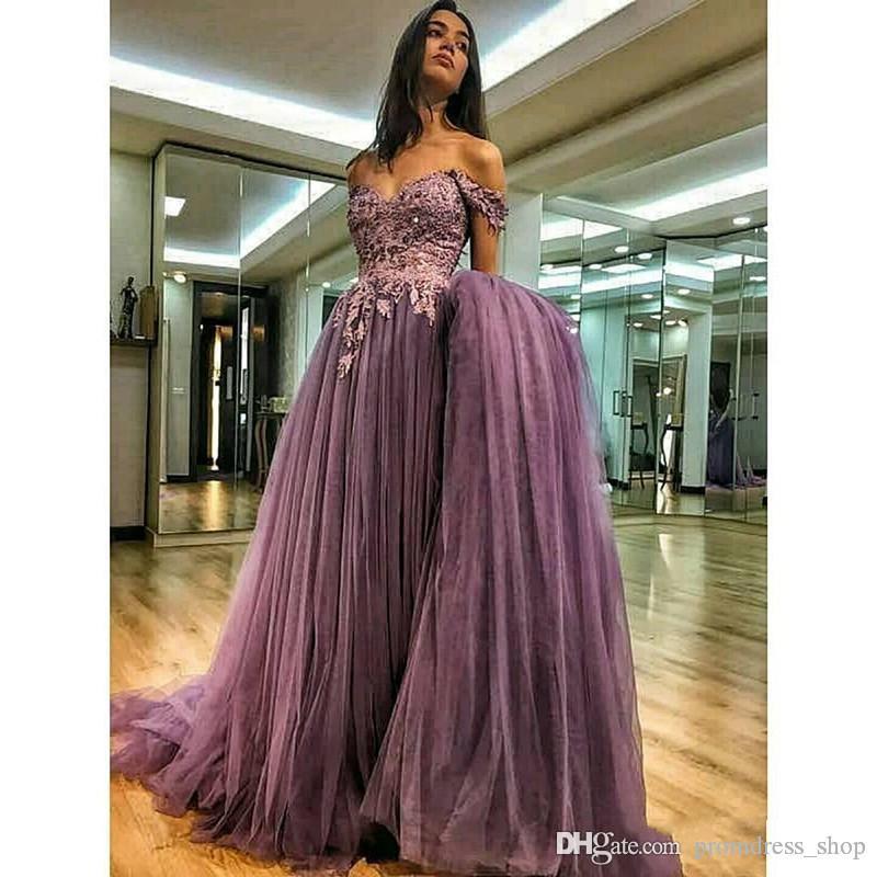 Off The Shoulder Evening Dresses 2020 A-line Tulle Lace Pearls Formal Islamic Dubai Kaftan Saudi Arabic Long Evening Gown