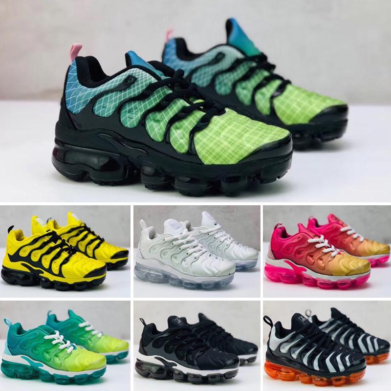 Nike Air TN Plus Dantel Yukarı 2019 TN Çocuk koşu ayakkabıları Çalıştır eğitmenler oğlan kız spor ayakkabıları yürümeye başlayan Üçlü Siyah Gri beyaz Mor Bebek Çocuk
