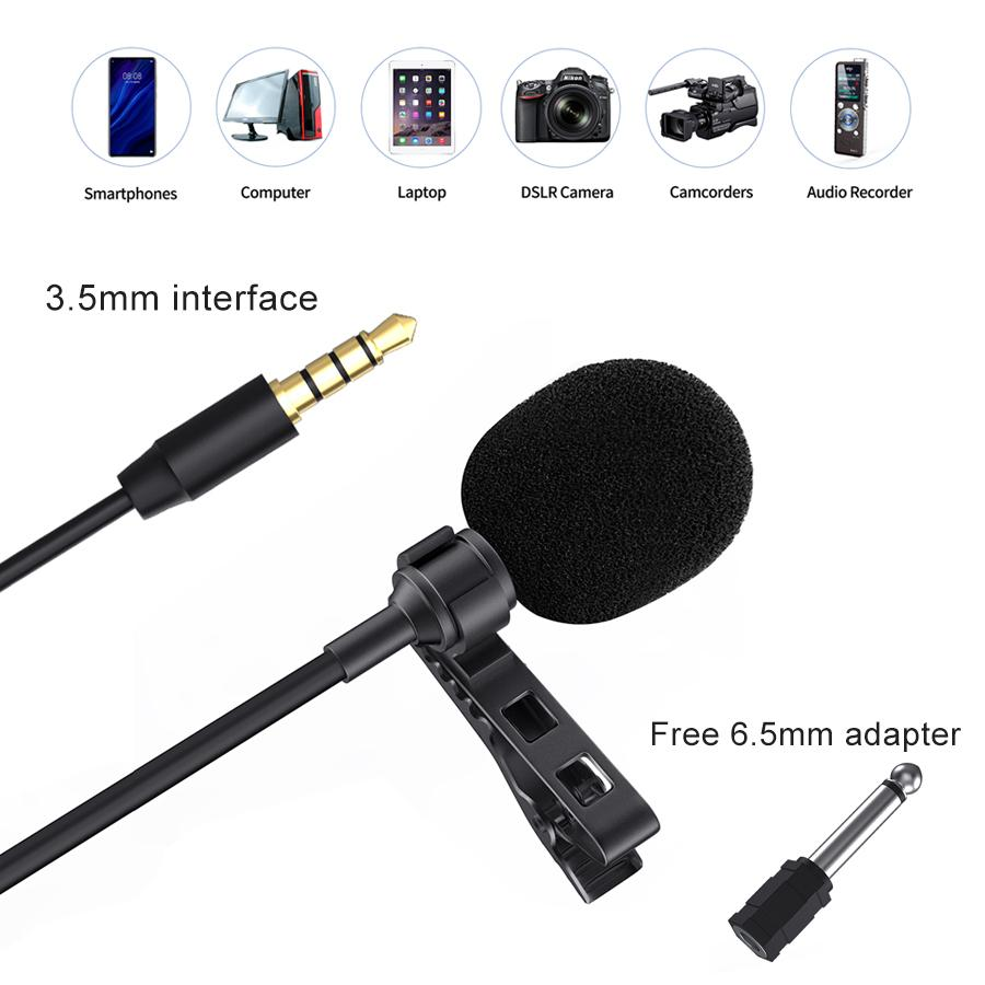 3.5mm KM-D1 Audio Video Record Lavalier Lapel Microphone for iPhone Android Mac Interview Vlog Mic for DSLR Camera Camcorder Recorder