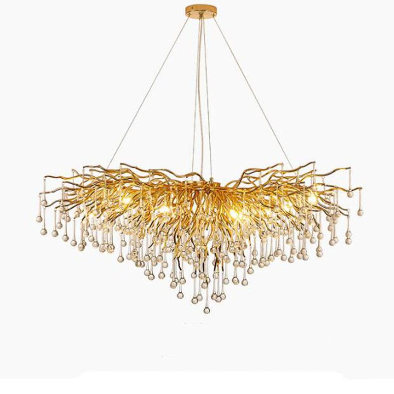 Modern Luxurious Gold Color Crystal Chandelier G9 New Water droplets series Suspension Chandelier Lighting for Hotel living