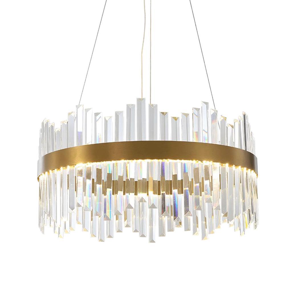 Lüks yuvarlak / mutfak ada ışık için oturma odası yatak odası altın kristal asılı lamba dikdörtgen Modern avize aydınlatma