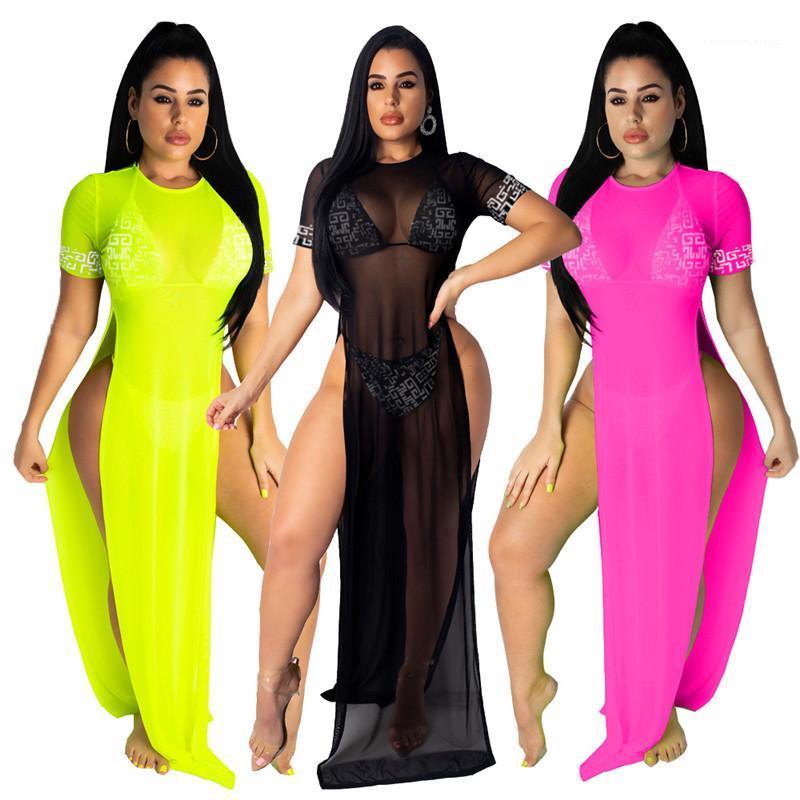 Farbe mit hohen Taille der Sommer-Frauen Designer-Kleid-Split 3PCS O-Ausschnitt Kurzarm-Licht-beiläufige reizvoller Verein-Kleid-Fest