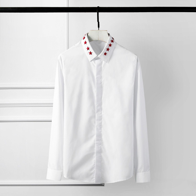 Hot sales China Red Pentagram Men casual shirt Original Solid Rivet decoration Camisa Masculino Plus size 4XL Slim Men Dress shirt