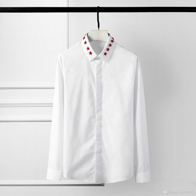 المبيعات الساخنة الصين الأحمر الخماسي الرجال عارضة قميص الأصلي الصلبة برشام الديكور camisa masculino زائد حجم 4xl ضئيلة الرجال اللباس قميص