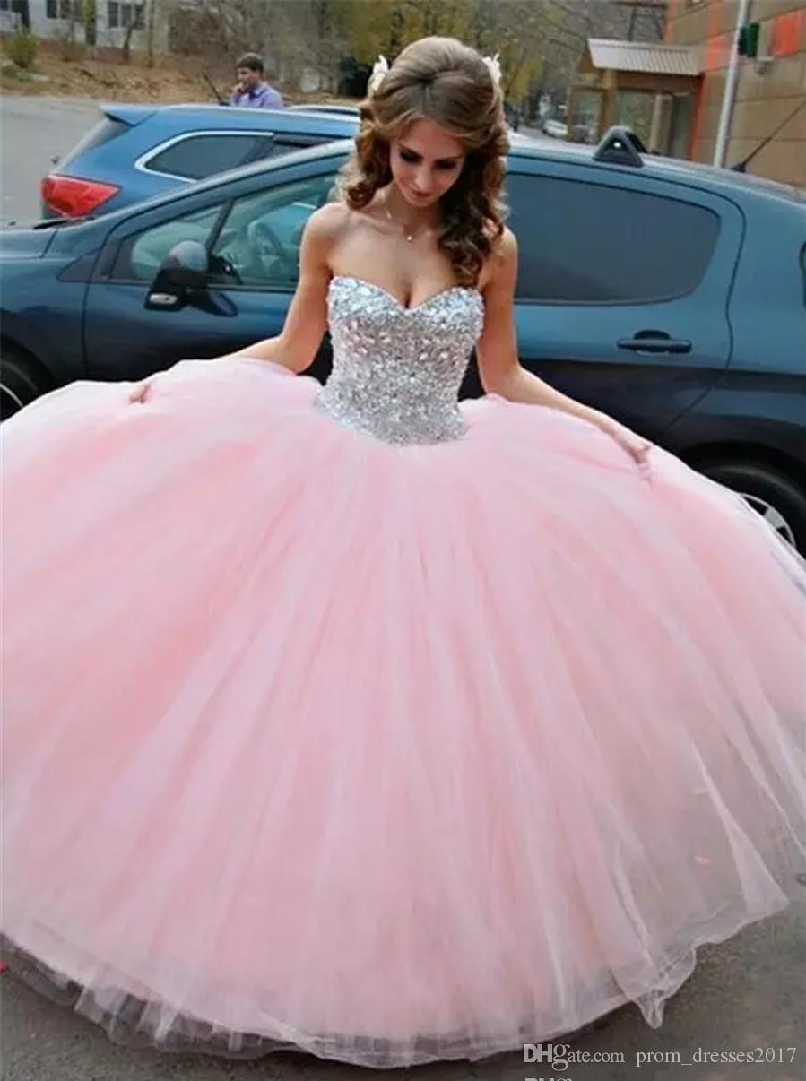 Light Pink With Full Silver Crystals and Sequins Top Quinceanera Dresses sexy 16 Dresses Lace Up Back A-line Prom Party Gowns