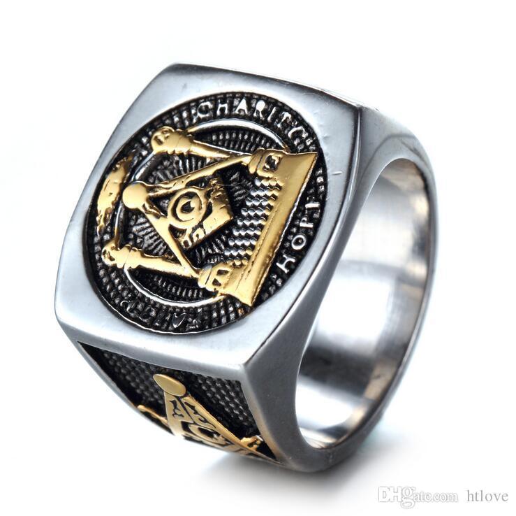 Vintage Anillos para hombre - Anillo de diseñador de acero inoxidable Vaquero Biker Joyería Regalos - Retro Punk Masonic Freemasonry Ring (Oro Plata)