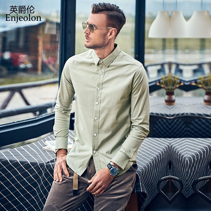 Großhandel Marke der Herbst-Männer Freizeithemd Langärmlig Fest Umlegekragen Männlich Top Shirts3XL Plus Size High Quality CX2281-1