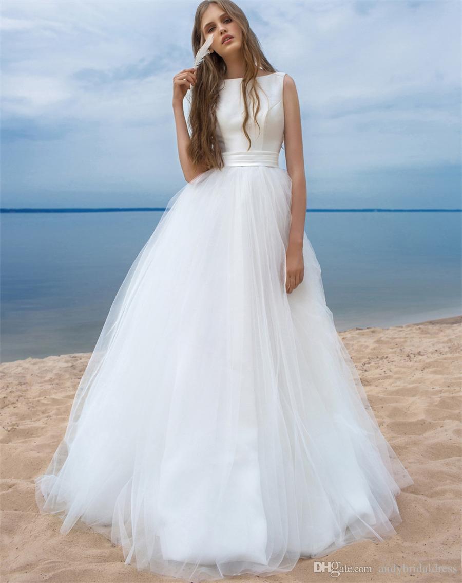 Böhmische Strand Brautkleider Sleeveless Low Back Einfache Designer Bodenlangen Tüll Brautkleid Hochzeitskleid Zum Verkauf